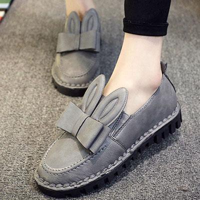 樂福鞋 可愛兔耳蝴蝶結皮革樂福鞋【S1506】☆雙兒網☆ 0
