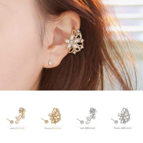 PS Mall 韓版新款 鑲水鑽珍珠 耳夾 無耳洞 假耳釘 個性耳飾 甜美花朵耳環【G1851】