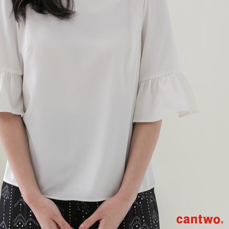 cantwo素面雪紡荷葉五分袖上衣(共二色) 4