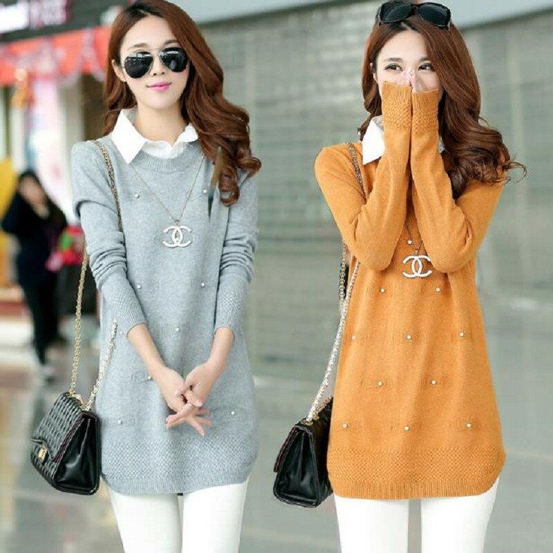 假兩件中長版針織毛衣(5色)
