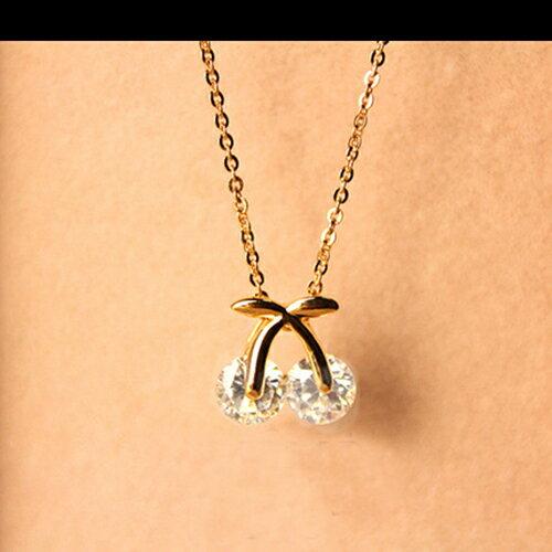 項鍊 - 韓版可愛櫻桃鑽石鎖骨鏈【21543】 藍色巴黎 - 現貨+預購  【防過敏】 1