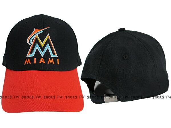 Shoestw【5562008-900】MLB 棒球帽 調整帽 老帽 馬林魚隊 黑橘 凸繡
