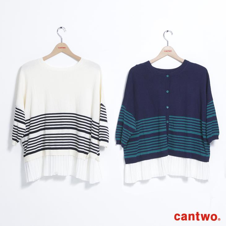 cantwo條紋後釦針織上衣(共三色) 6