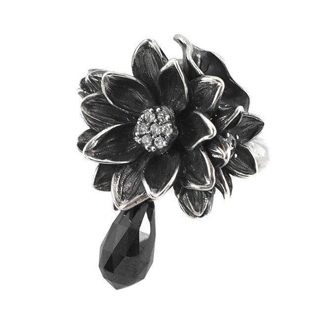 【海外訂購】【KONRON】公主珍珠花朵寶石純銀戒指-黑色(KRR0535-cz-Black) 1