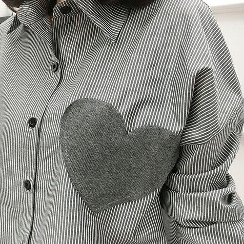 襯衫 - 直條愛心貼布造型襯衫【29146】藍色巴黎-現貨 《長袖&短袖》現貨+預購 2