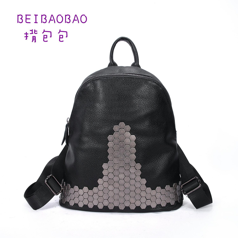 【BEIBAOBAO】原宿鉚釘真皮後背包(鉚釘後背包) 0