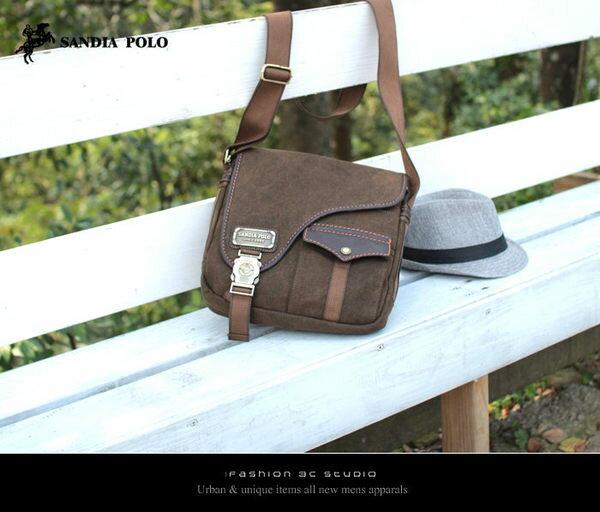 【愛瘋潮】SANDIA POLO 聖地亞 帆布真皮配皮系列-前拼接口袋馬鞍休閒帆布斜背包