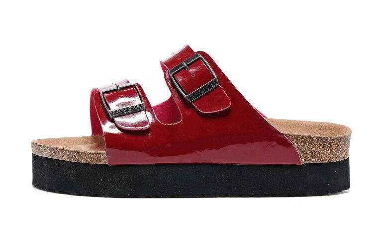 Arizona 厚底系列 夏季 男女款 懶人涼拖鞋 漆皮紅色 [Anson King]Outlet正品代購  birkenstock 1