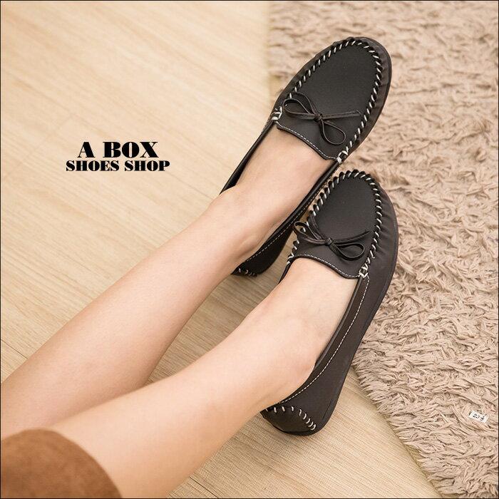 格子舖*【AW2313】MIT台灣製 簡約蝴蝶結 車線設計仿牛巴皮革 柔軟舒適 平底包鞋 懶人鞋 3色 1