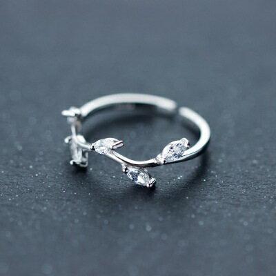 925純銀戒指鑲鑽開口戒~奢華耀眼樹枝 情人節生日 女飾品73dt101~ ~~米蘭 ~