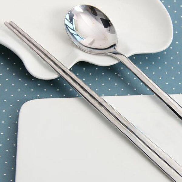 韓國 不鏽鋼湯匙筷子組 環保傳統扁筷 方便清洗 耐用 不易滾落 不挑款【86小舖】