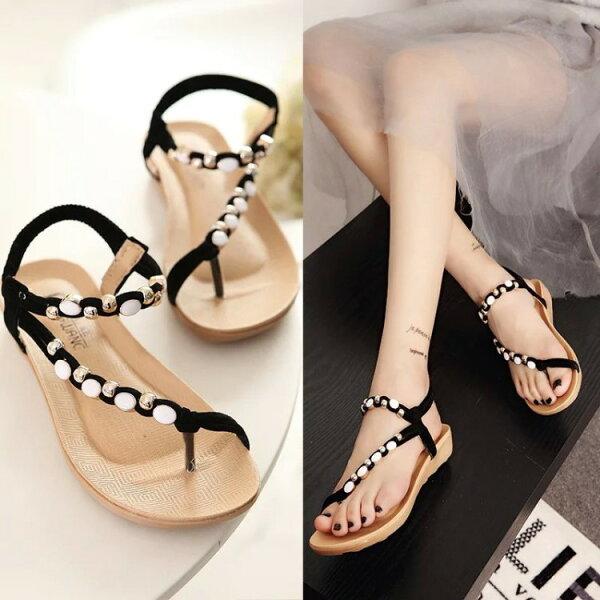 夾腳涼鞋- Damita 波希米亞金屬串珠夾腳厚底涼鞋 ( 2色 ) 現+預 版型偏小