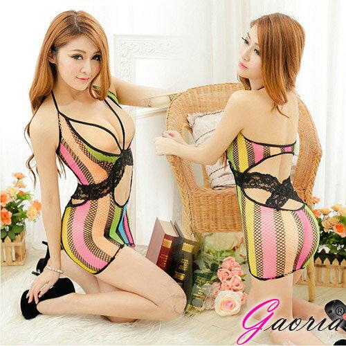 情趣睡衣 Gaoria 彩虹綻放 性感連身網衣短裙 F1-315