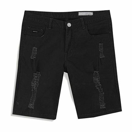 【MODE MAN】正韓UPSET破損抽鬚造型彈力休閒短褲