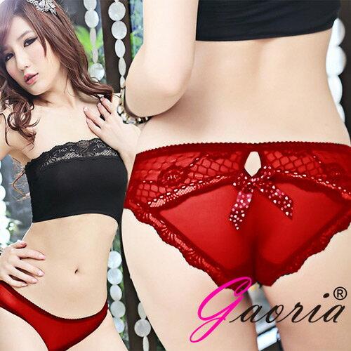 ◤情趣用品 情趣睡衣◥ 【Gaoria】野味甜心 透明網紗三角內褲 T-001 紅【跳蛋 名器 自慰器 按摩棒 情趣用品 】