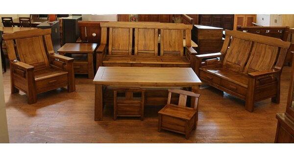 【尚品傢俱】839-14 羅旺 柚木全實木木組椅/客廳木製沙發組/辦公室木作休憩桌椅組/接待室木造木椅茶几組