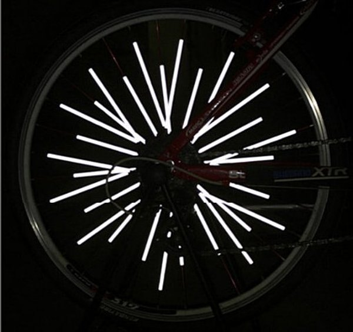 《意生》一包12支裝自行車反光條夜騎警示反光片 車貼裝飾條車輪裝飾條風火輪小折小摺公路車腳踏車