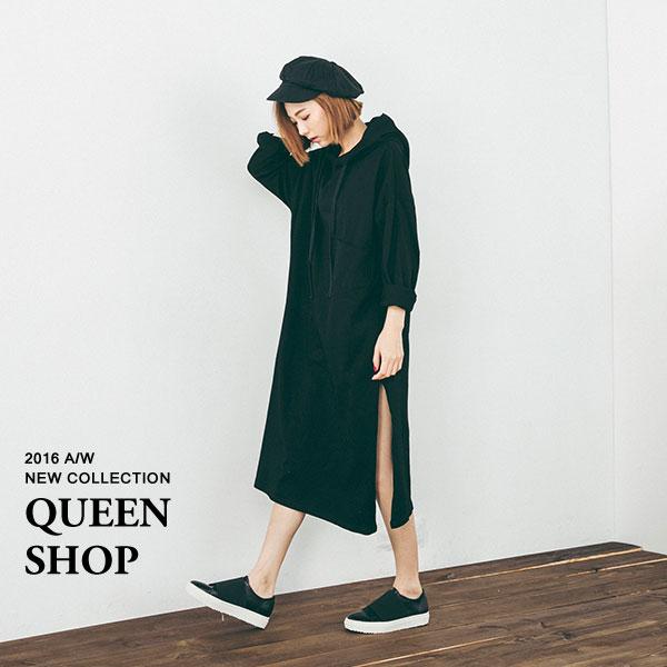 Queen Shop【01094069】側開衩連帽長版上衣 兩色售  *現貨+預購*