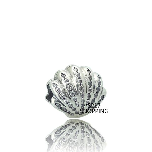 【鑽石貝殼】charms 925純銀墜子 墜飾 珍珠 水晶 純銀串珠 5217SHOPPING