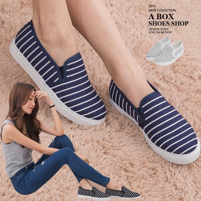 格子舖*【AW1512A】基本款百搭韓版 質感海軍風條紋 休閒帆布鞋 懶人鞋便鞋 3色 0