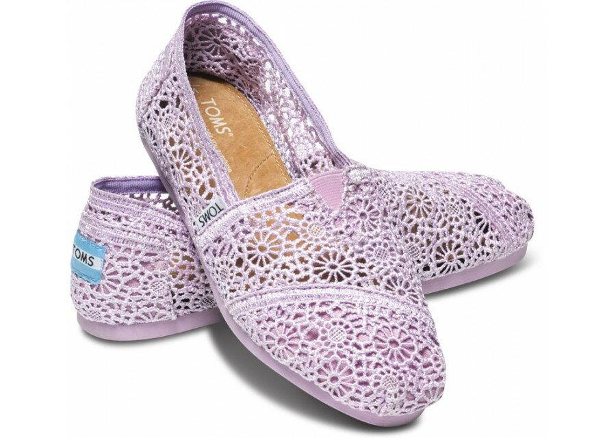 【TOMS】淡紫色蕾絲鏤空繡花平底休閒鞋  Lilac Snow Crochet Women's Classics 0