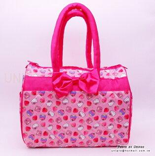 【UNIPRO】雙子星 X 凱蒂貓 Hello Kitty 草莓 波士頓包 手提包 三麗鷗正版授權 雙星仙子 KT