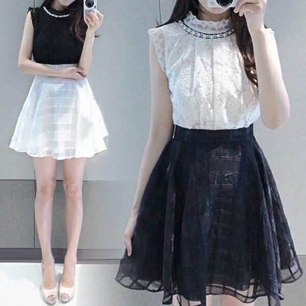 PS Mall  韓版 蕾絲名媛氣質甜美顯瘦連身洋裝 連身裙【T5113】