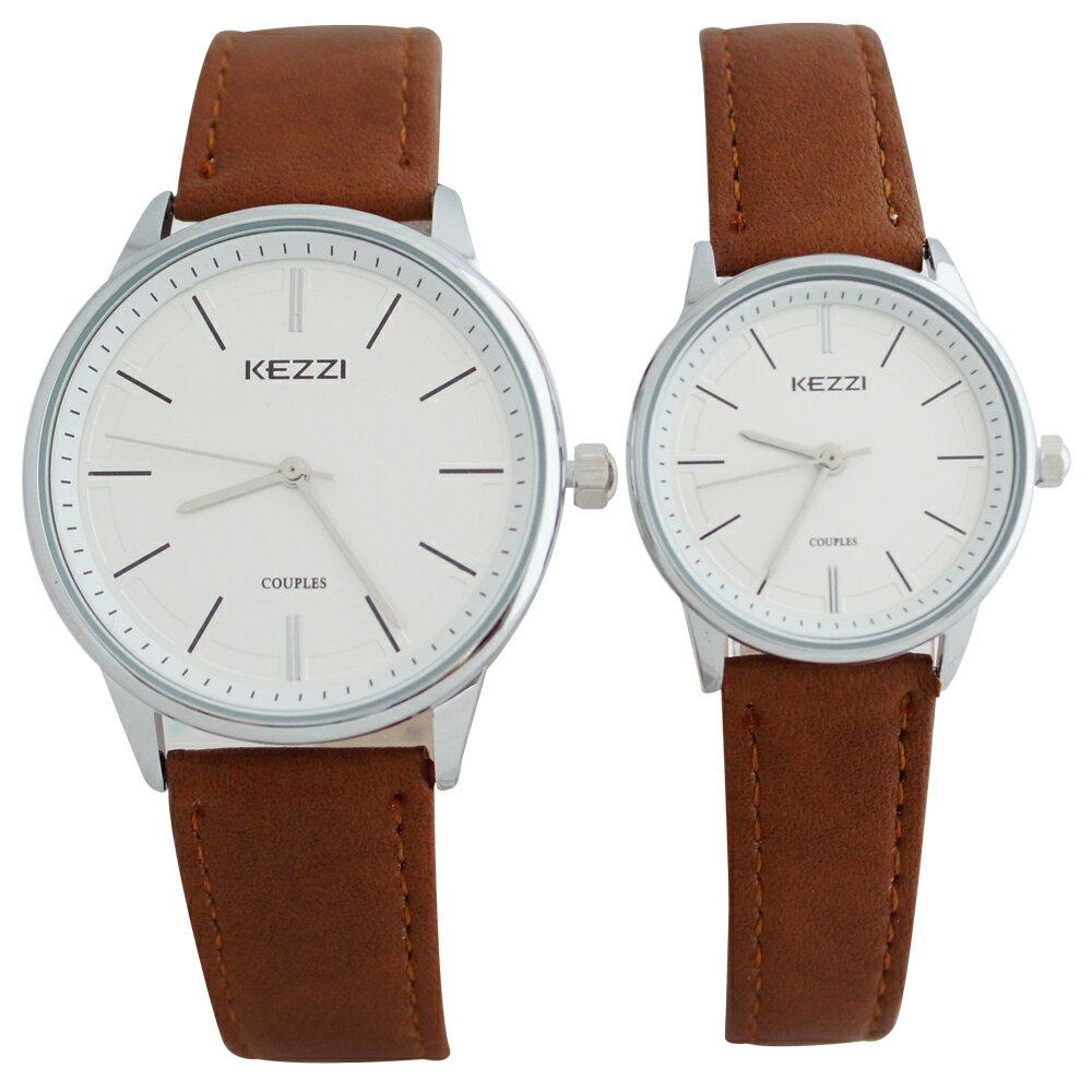 KEZZI珂紫 K-1516 S 素雅錶面設計精緻銀針情侶對錶-大型/小型 1