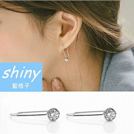【DJX7310】shiny藍格子-簡約U型白鑽耳環