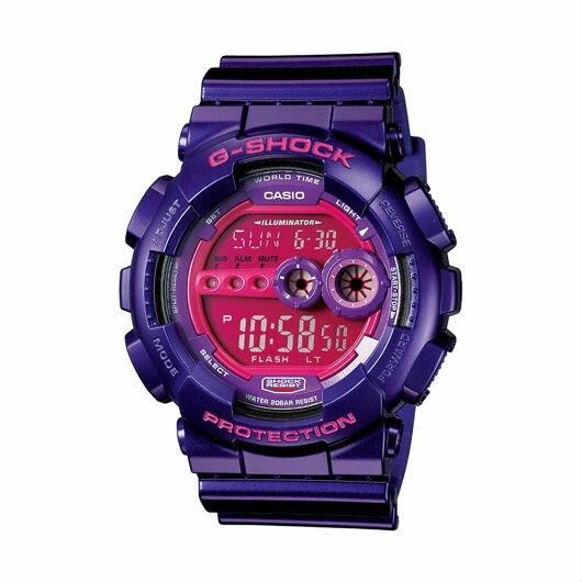 CASIO G-SHOCK GD-100-1A經典紫數位流行腕錶/紅面51mm