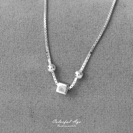 925純銀腳鍊 立體方塊綴雙珠 優雅性感 抗過敏材質配戴舒適 清新風格 柒彩年代【NPS7】 0
