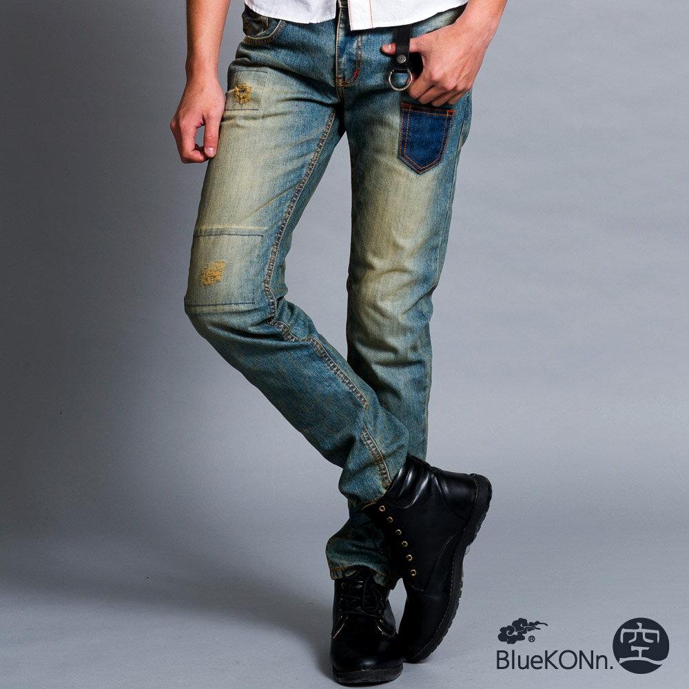 【BlueKONn.】復古口袋中低腰直筒褲(淺藍) 0