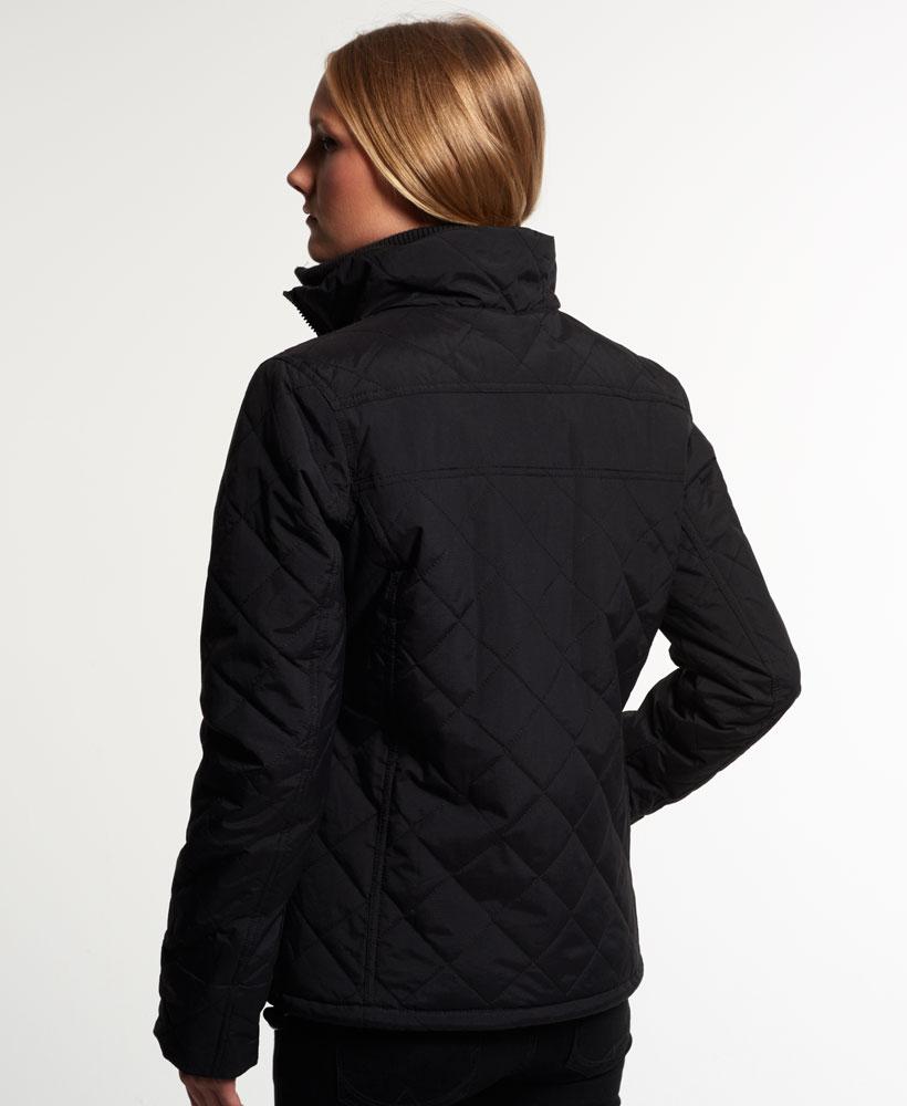 [女款] Outlet英國 極度乾燥 Superdry Hooded Sherpa 加厚保暖菱格紋絎縫羊羔絨防風衣 女款 黑 3