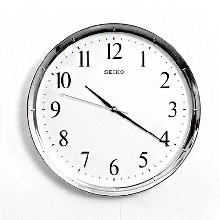 SEIKO精工時鐘 簡約典雅亮銀色外框設計掛鐘 滑動式靜音秒針 柒彩年代【NG1729】原廠公司貨