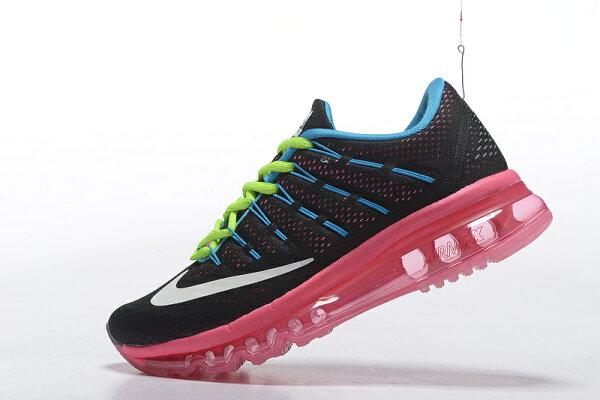 Nike Air Max 2016 女生氣墊慢跑鞋 運動鞋 全掌氣墊女子鞋 黑月桃紅