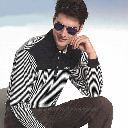 【義大利 SINA COVA】男女運動休閒吸濕排汗電腦條紋長POLO衫(深藍#S813A1) - 限時優惠好康折扣