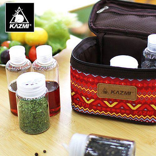 【露營趣】中和 送鉤環 KAZMI 經典民族風調味料收納袋S 調味罐 調味瓶收納袋 K5T3K001