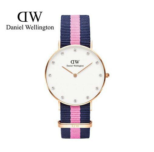 瑞典正品代購 Daniel Wellington 0952DW  玫瑰金 尼龍 帆布錶帶 女錶手錶腕錶 26MM