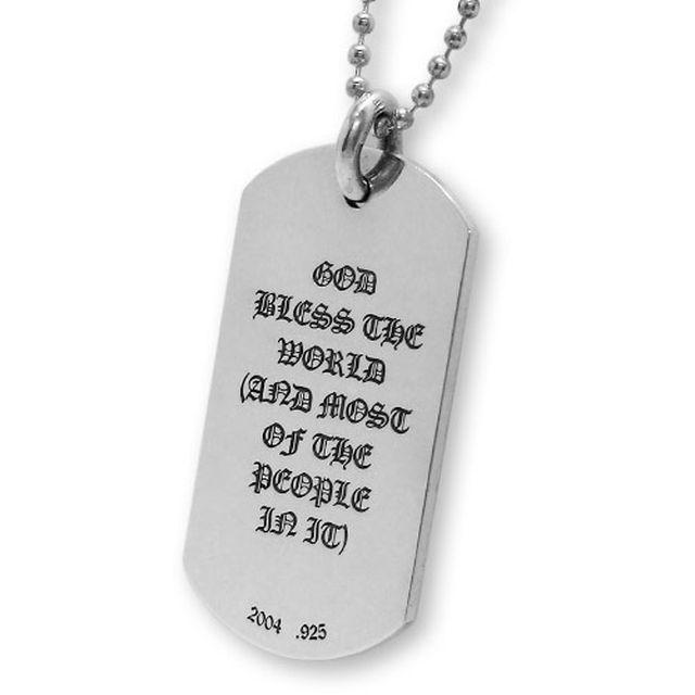 【現貨商品】【Chrome Hearts】God bless the world 經典LOGO純銀軍牌項鍊(CHDT-019  0095000000) 2