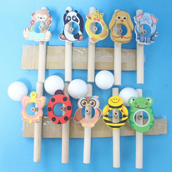 動物木管平衡吹球玩具 原木木吹球 神奇吹汽球 吐球玩具/一個入{促25}~5319~