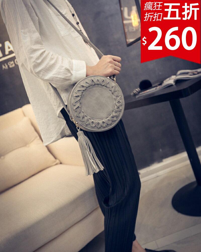 ❤ 520五折260❤ 圓形編織復古仿皮革跨肩小包 復古小包包隨身 單品~HF601BUL