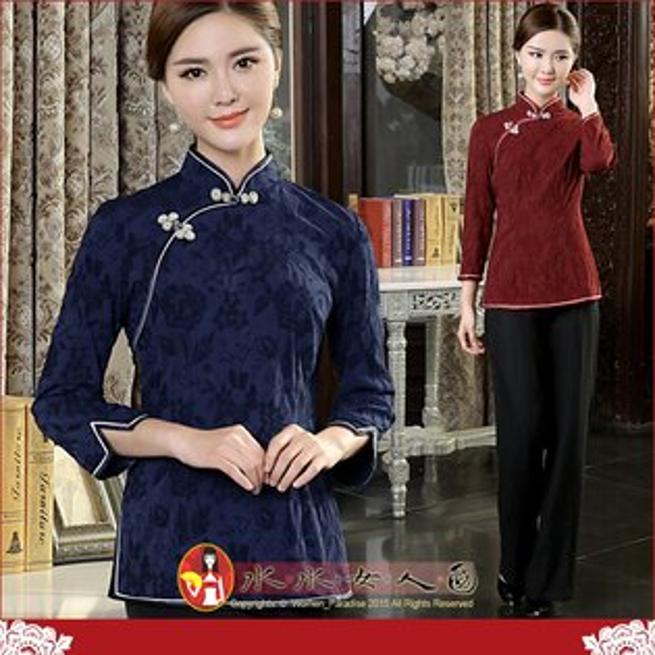 【水水女人國】~時尚中國風美穿在身~魅雅。古典氣質提花棉七分袖旗袍式唐裝上衣。兩色