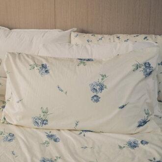 枕頭套一入- [恬靜水芙藍-大花] 100%精梳棉 ; 碎花; 田園 ;  SGS檢驗通過 ; 45x75cm; 翔仔居家台灣製