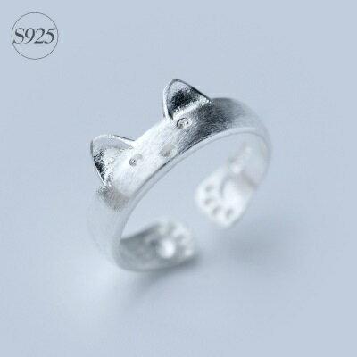 925純銀戒指開口戒~精緻獨特貓咪刻紋七夕情人節 女飾品73dt310~ ~~米蘭 ~