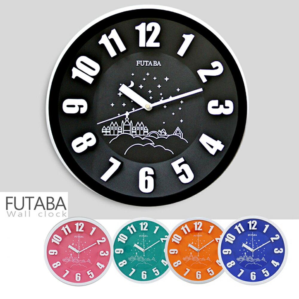 FUTABA-0718 時尚教堂3D立體凸字掛鐘 0