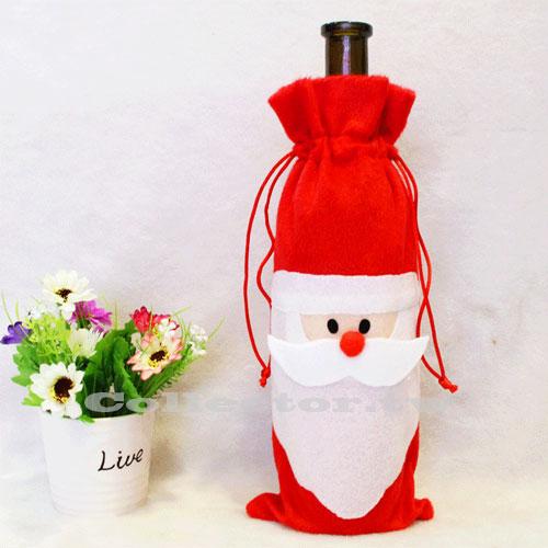 ~P15102101~聖誕老人紅酒香檳瓶套 聖誕裝飾品 紅酒袋 袋 聖誕 ~  好康折扣