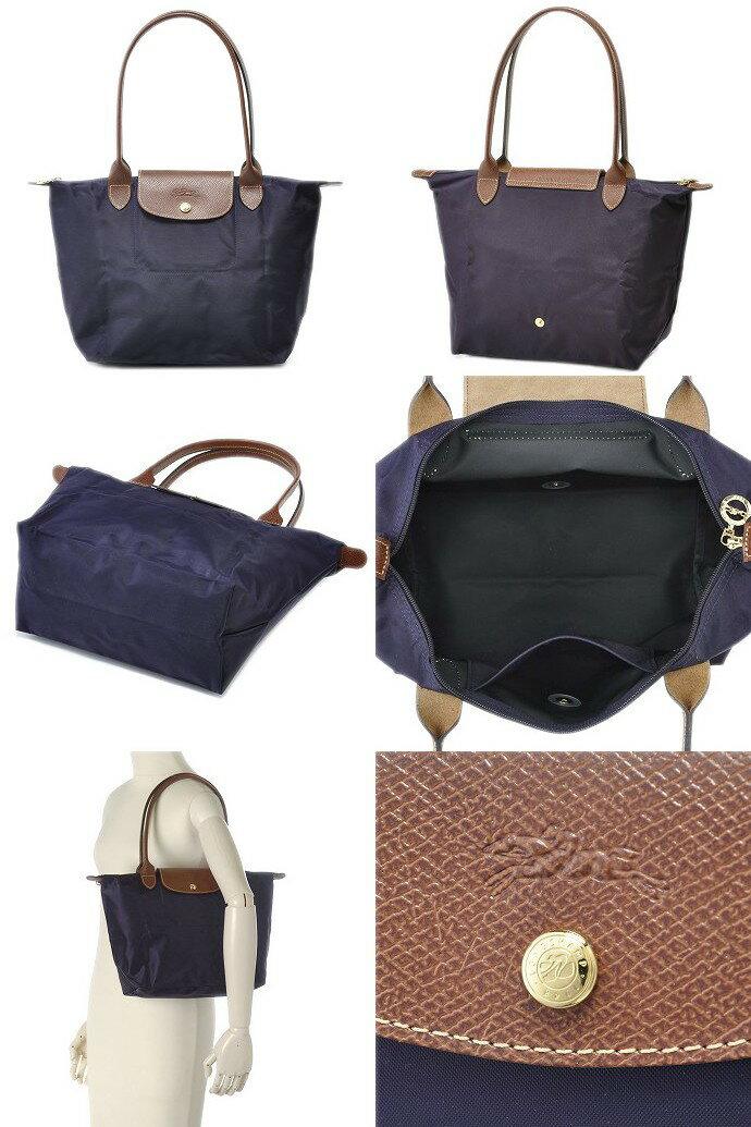 [2605-S號]國外Outlet代購正品 法國巴黎 Longchamp  長柄 購物袋防水尼龍手提肩背水餃包 深紫色 2