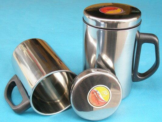 全不鏽鋼鋼杯 辦公杯加杯蓋(全不鏽鋼杯蓋)500ml/一個入{促99}
