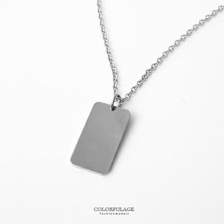 項鍊 素面百搭方形墜飾白鋼抗過敏 經典中性基本款 簡約別緻輕鬆搭配 柒彩年代【NB670】無印風 0