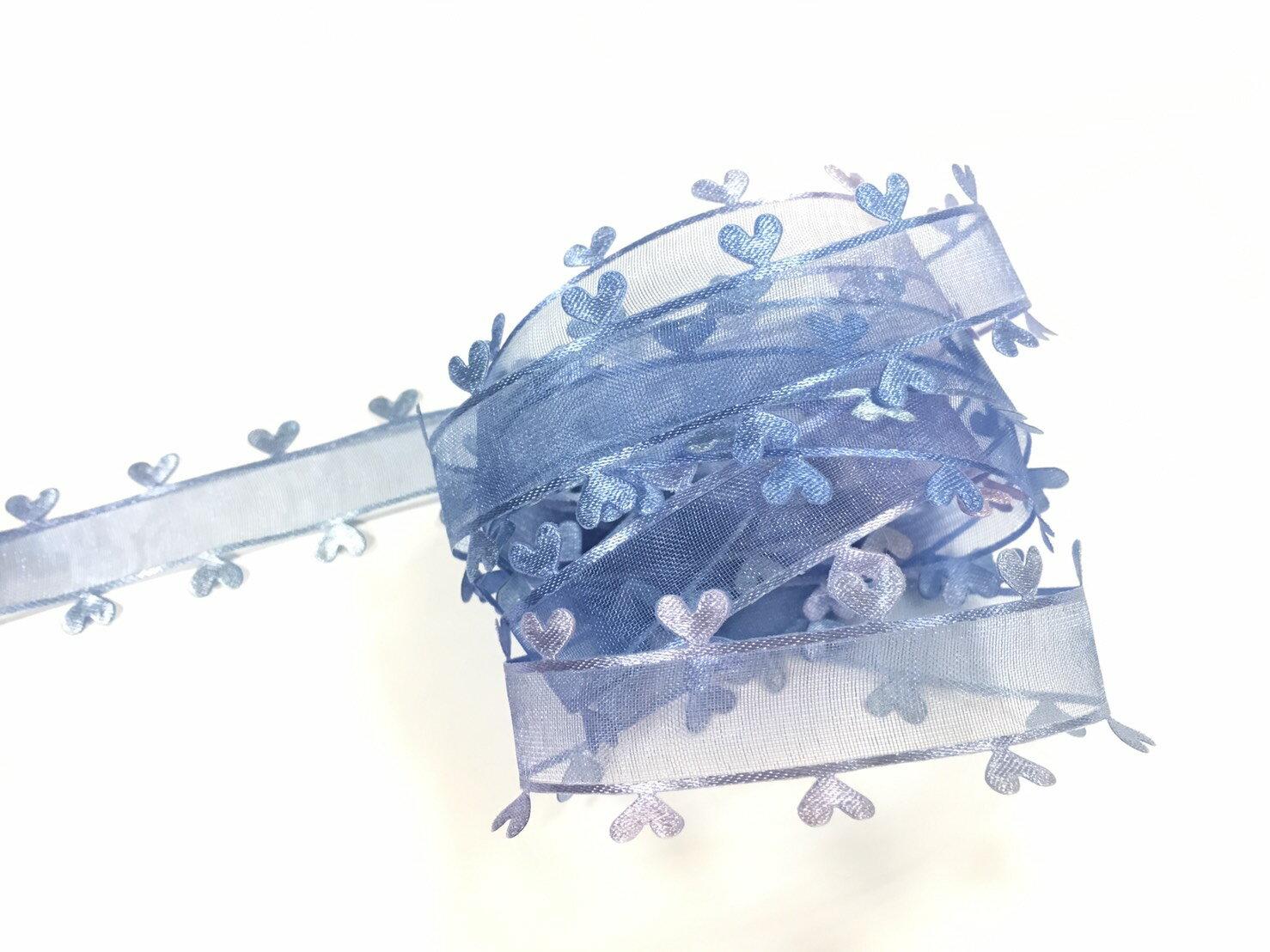 網紗漸層壓邊愛心緞帶 27mm 3碼 (6色) 1